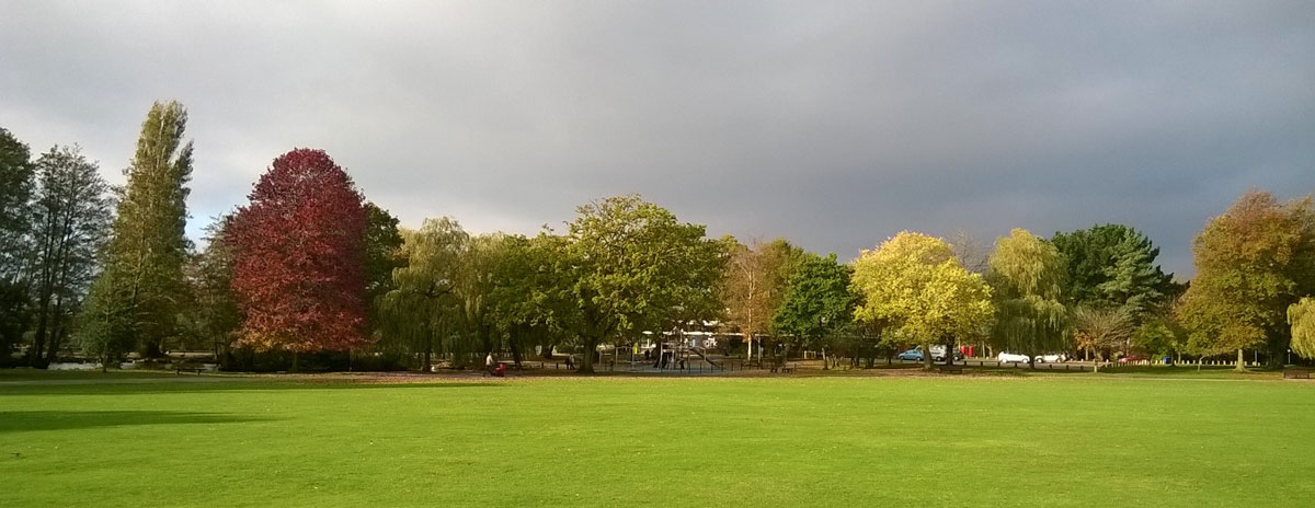 Autumn view over the cricket field towards Cygnet play area