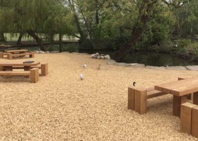 Picnic sets between the Cygnet play area and miniature railway station